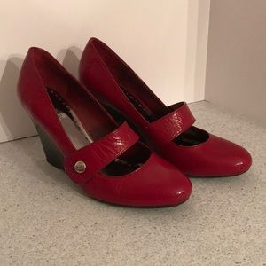 BCBGirls wedge heel red leather Mary Janes 8B